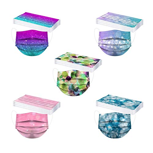 50 Stück Einmal-Mundschutz Staubs-chutz Atmungsaktive Farbstoff binden Drucken Mundbedeckung Erwachsene Gesichtsschutz Halstuch Schlauchschal Draussen (I-50Stück)