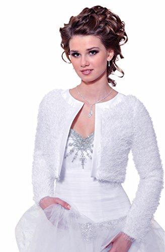 Pelzjacke Brautjacke Bolerojacke Brautbolero Pelz Bolero warme Jacke Hochzeit, dB237, 38 weiß