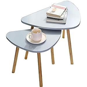 {Pratici ed eleganti} - Set di 2 tavolini colore del piano grigio e gambe legno. Dimensione del grande 60 × 40 × H45cm e del piccolo 46 × 30 × H41cm. Eleganti dal design retrò, vintage e moderno. Ideali come tavolini da caffè, soggiorno. Anche comodi...