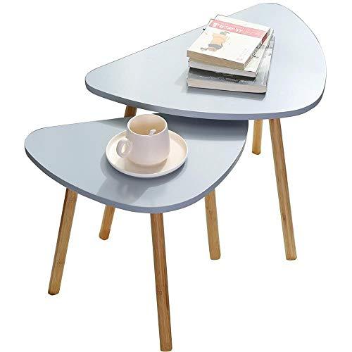 Set Di Due Tavolini Da Caffe Grigi in Legno Scandivavi 60x40xH45 E 46x30xH41 Minimalisti Appoggio Piante Vasi Comodino Legno MDF. Tavolini Salotto. Tavolino Grigio