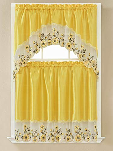 B&H Home Adeline Floral Embroidered 3-Piece Kitchen Curtain Window Treatment Set (Adeline Yellow)