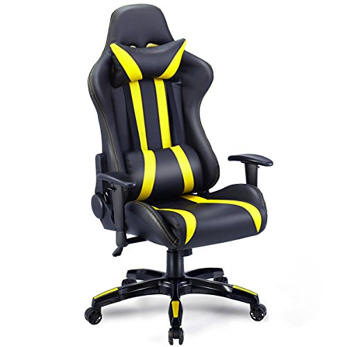 Giantex Gaming Chair Racing Style High Back PU Leather Executive Office Chair with Headrest and Lumbar Support Ergonomic Home Office Computer Desk Task Chair (Black+Yellow) black chair gaming