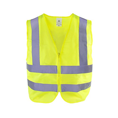 TR Industrial Neon Yellow Safety Vest, Front Zipper Knitted, 2-Pocket, OSHA Approved, Size Large