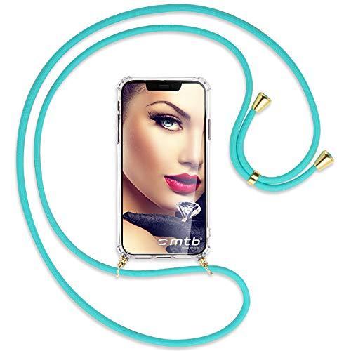 mtb more energy Collar Smartphone para OPPO Reno5 Pro Plus 5G (6.55'') - Turquesa/Oro - Funda Protectora ponible - Carcasa Anti Shock con Cuerda Correa