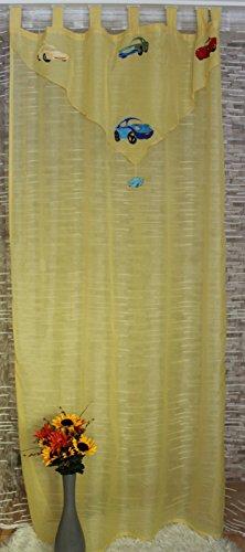 Bel Air Rideau à passants pour enfant Gardinenbox Rideau en voile semi-transparent pour chambre d'enfant Jaune 145 x 245 cm