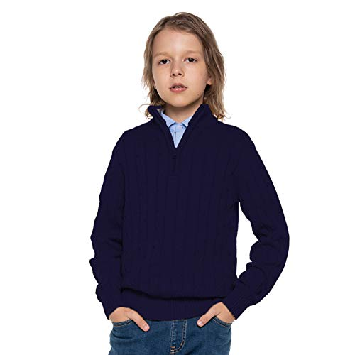Kid Nation Boys Pullover Sweater 1/4 Zip Long Sleeves Casual...