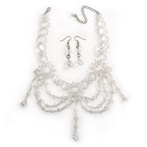 AB Crystal Bead Gothic Costume Choker Necklace And Earring Set In Silver Plating