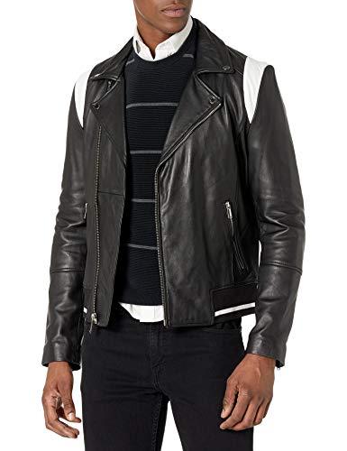 KARL LAGERFELD Paris Herren Leather Moto with White Details Lederjacke, schwarz, Klein