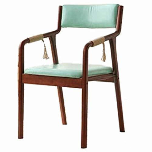 TXXM Semplice sedia da pranzo in legno massello tessuto retrò moderno ristorante albergo casa posteriore cinese bracciolo sala da pranzo sedia curvo legno (colore C)