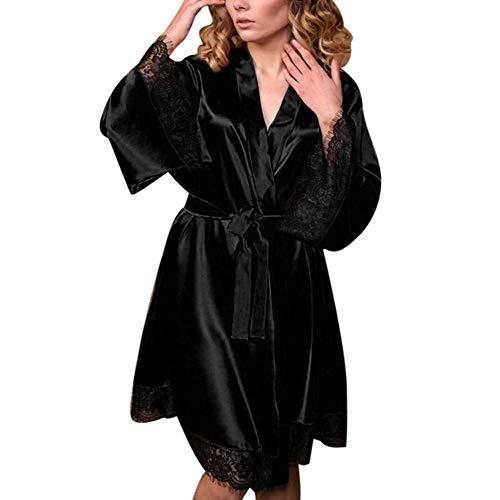 ZIYOU Damen Bademantel Babydoll Dessous Set Silk Kimono Morgenmantel Nachthemd(Schwarz,3X-Large)