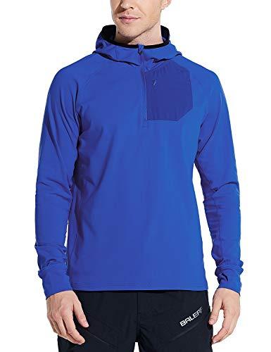 BALEAF Men's Running Pullover Shirts Warm Thermal Half Zip Hoddies Pullovers with Zipper Pocket Hiking Cycling Blue XXL