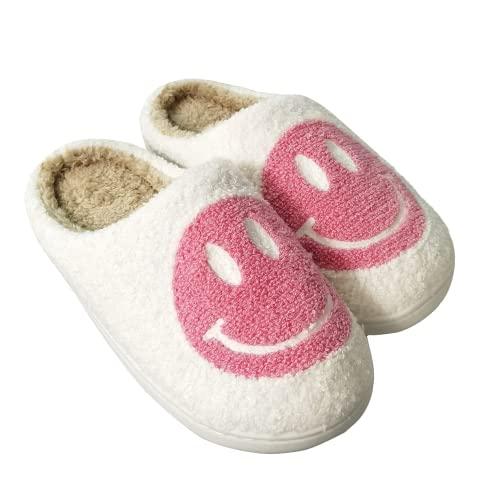 Smiley Face Slippers Fluffy Warm Home Non-Slip Slides Cute Soft Plush House Shoes For Women Men