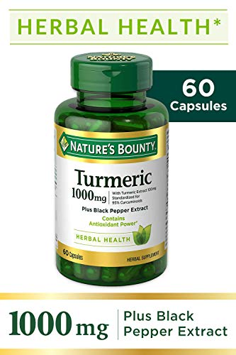 Nature's Bounty Turmeric Pills and Herbal Health Supplement, Supports Joint Pain Relief and Antioxidant Health, 1000mg, 60 Capsules