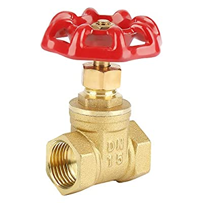 DN15 Brass Gate Valve BSPP G1/2 Rotary Sluice Gate Valve 232PSI for Water Oil Gas with Red Head Handle from Hilitand