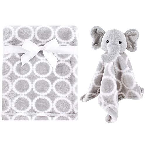 Hudson Baby Unisex Baby Plush Blanket with Security Blanket, Neutral Elephant, One Size
