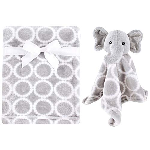 Hudson Baby Unisex Baby Plush Blanket with Security Blanket, Neutral Elephant, One Size