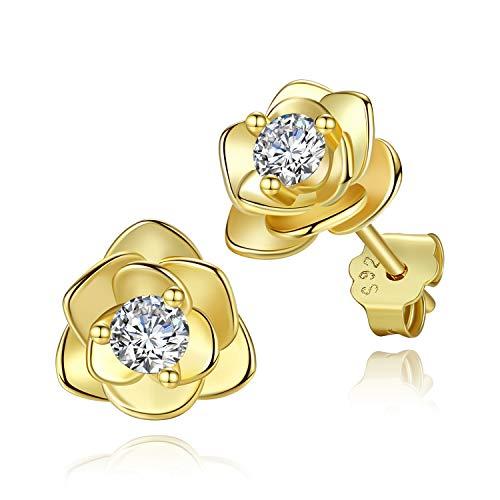 Oro Aretes de Rosa con Zirconia para Mujer – Pendientes Flor de Plata de Ley de Hipoalergénico Aretes