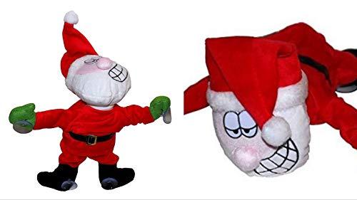 ambestore 2X XL dansende kerstman met zuignappen Kerstdecoratie stoffen dier muziek raamdecoratie kerstdecoratie kinderkamer woonkamer keuken 30 cm groot