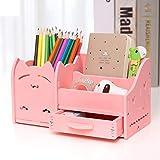 Multi-function Pot à crayons, Crayon créatif organisateur étudiant mignon papeterie titulaire bureau organisateur bureau stylo coupe crayon-chat rose 22x11x12cm(9x4x5inch)