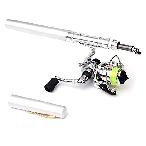 Lixada Set di Mulinelli da Pesca Tascabili Collassabile 1m/1,4m, Mini Canna da Pesca Telescopica + Mulinello da Spinning Leggero per Principianti Bambini Viaggiare a Pesca