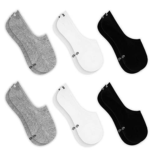 Snocks ® Herren und Damen Unsichtbare Sneaker Socken (6x Paar) Extra Großes Silikonpad Verhindert Verrutschen  - 2x Schwarz + 2x Weiß + 2x Grau, 39 - 42