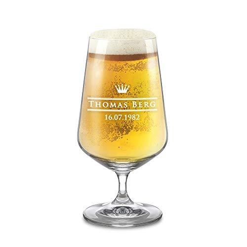 AMAVEL Bierglas mit Gravur, Royal, Personalisiert mit Wunschnamen und Datum, Pilstulpe, Pilsglas für Biertrinker, Füllmenge: 400 ml