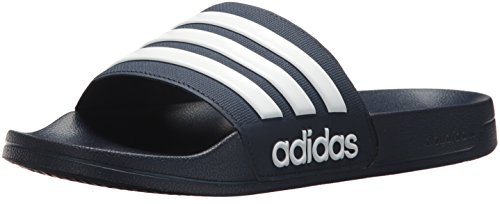 adidas Men's Adilette Shower Slide Sandal, White/Collegiate Navy, 4 M US