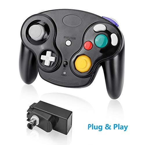 Laelr Wireless Gamecube Controller Joystick für Nintendo Wii 2.4G Bluetooth NGC Gamepad Joystick Dual Vibration NGC Gamepad mit Empfänger-Adapter für Wii Gamecube NGC