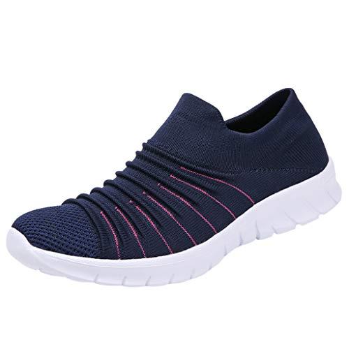 WOZOW Chaussures Sport Décontractées pour Femmes Occasionnelles Cours D'exécution, Respirantes Homme Femme Air Baskets Chaussure Running Sports Gym Fitness Course Sneakers(Bleu,39)