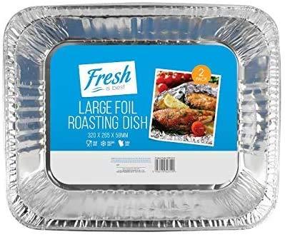 EVERBUY - Bandejas de aluminio desechables para hornear asados y más Gastronorm de tamaño medio, 32 x 26 cm, 5 paquetes de 2 bandejas