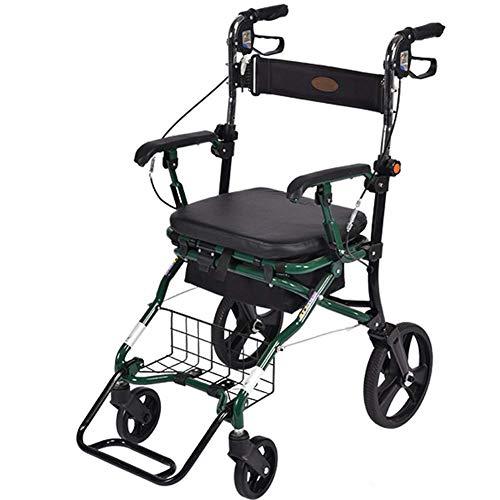 Walker plegable altura ajustable freno bloqueable marco para caminar portátil viejo carrito de compras