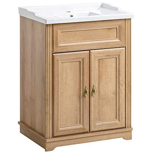 Lomadox Badezimmer Waschtisch-Unterschrank inkl 60cm Keramikwaschbecken ● Vintage Landhaus Design ● Holzoptik Eiche Nb. ● 2 Türen, 1 Einlegeboden