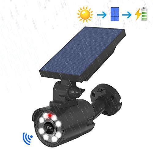 [ 2020最新型 ] 超長照明 ソーラー センサーライト 人感センサーライト 屋外 ソーラーライト 防犯カメラ 照明緊急灯 明るい 防犯ライト ダミーカメラ LED投光器 電気代不要 2つモード ダミーカメラ 人感センサー 人感検知 夜間自動点灯 角度調