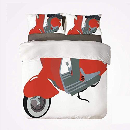 Conjunto de funda nórdica Decoraciones de la década de 1960 Varios 3 Conjunto de boda, Doodle de scooter de motor en estilo agradable de los años sesenta Motocicleta Urbana Clipart de dibujos animados