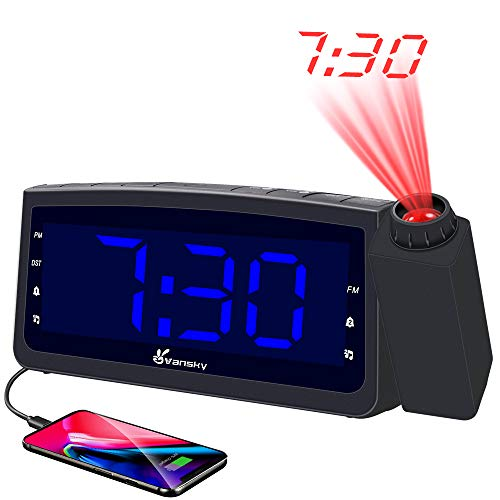 """Vansky PAC02 USB Charger, Digital Projection Clock for Bedrooms, FM Radio, 6.57"""" LED Display with Dimmer, Dual Alarm, Snooze, Battery Backup, Blue"""