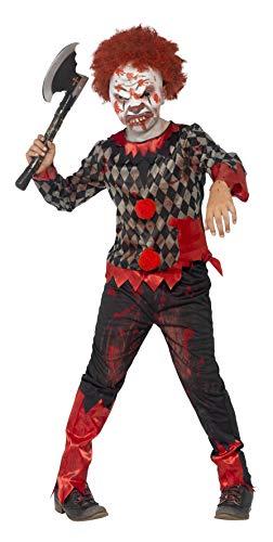 SMIFFYS Costume Deluxe Zombie Clown, Rosso & Verde, comprende Maschera in Lattice, Top e