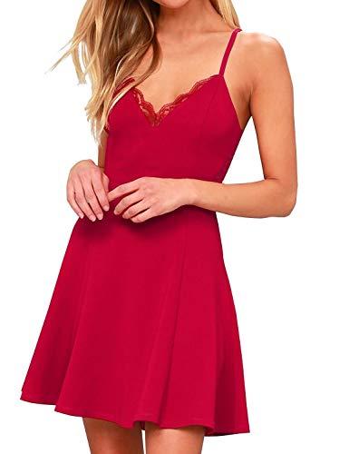 FANCYINN zomerjurk dames spaghettibandjes mini jurk kant rugvrij jurk kort elegant
