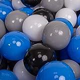 KiddyMoon 200 ∅ 7Cm Balles Colorées Plastique pour Piscine Enfant Bébé Fabriqué en EU, Gris/Blanc/Bleu/Noir