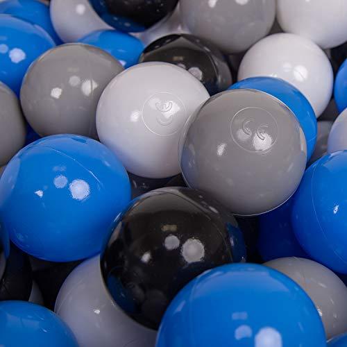 KiddyMoon 50 ∅ 7Cm Balles Colorées Plastique pour Piscine Enfant Bébé Fabriqué en EU, Gris/Blanc/Bleu/Noir