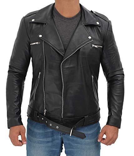 Fjackets Genuine Black Men's Leather Jacket - Moto Lambskin Real Leather Motorcycle Jacket Men | [1100055] , Negn XL