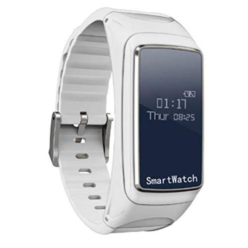 UKCOCO Pulsera reloj inteligente, 2 en 1 Auricular Bluetooth Presión arterial de oxígeno del monitor de ritmo cardíaco Podómetro Pulseras inteligentes para el teléfono inteligente Android IOS (blanco)