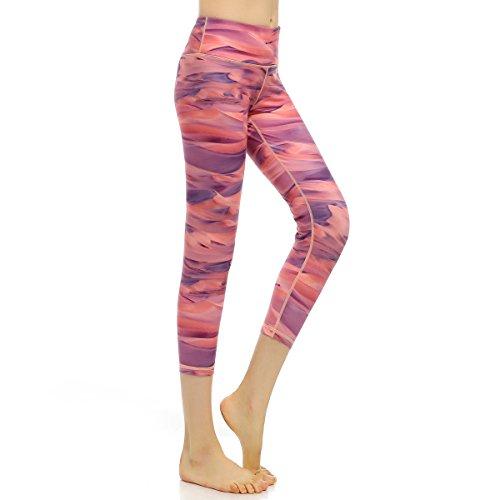AiJump Pantaloni Palestra Ritagliata Leggings Yoga per Donna Maglia Fitness Sport Gym Jogging Elastico Allenarsi