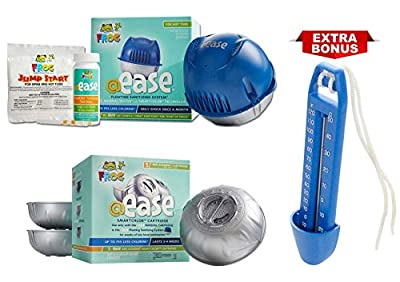 Frog @Ease Floating Sanitizing System for Hot Tubs with 3 Refill SmartChlor @ Ease Replacement Mineral Cartridges, Jump Start Shock and 30 Test Strips