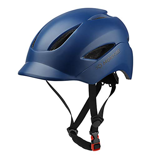 MOKFIRE Adult Bike Helmet That's Light, Cool & Sleek, Bicycle Cycling Helmet with Rear Light for Urban Commuter Adjustable Size for Adults Men/Women - Dark Blue