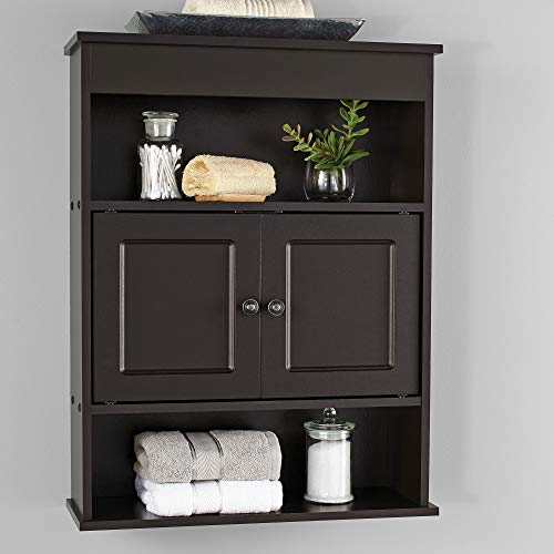 Mainstays Bathroom Wall Mounted Storage Cabinet with 2 Shelves - Espresso