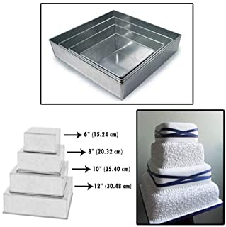 Set of 4 Tier Square Multilayer Birthday/Wedding Anniversary Cake Tins/Cake Pans/Cake Moulds 6