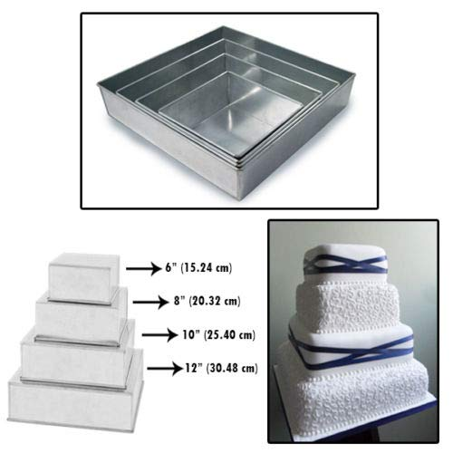 Set of 4 Tier Square Multilayer Birthday/Wedding Anniversary Cake Tins/Cake Pans/Cake Moulds 6'.8'.10'.12' - all 3' Deep