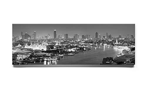 Atemberaubendes Skyline-Bild, Panorama-Foto von Bangkog, Bild 1 in schwarz-Weiss auf Keilrahmen-Leinwand 150x50cm, Wandbild inkl. Befestigungen