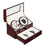 Klarstein Geneva - Uhrenbeweger, Uhrendreher, Uhrenbox, 4 Automatikuhren, 4 Modi, Links- oder...