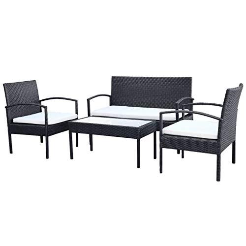 Tidyard 7-teilig Garten-Sofagarnitur Polyrattan Gartensofa Set Loungemöbel Gartengarnitur aus 2-Sitzer-Sofa, 2 Sessel, Couchtisch und 3 Sitzpolster, Farbauswahl